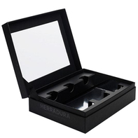 hinged lid rigid boxes with custom insert and clear window on lid