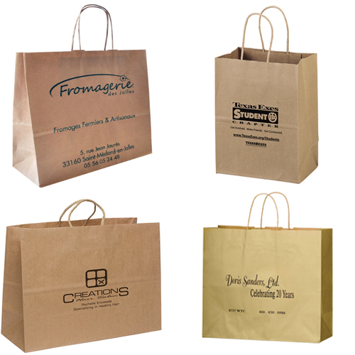 brown kraft bags with twisted handles