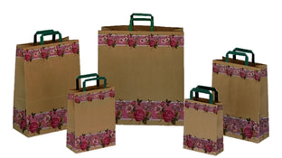 Flat handle recycled kraft bags